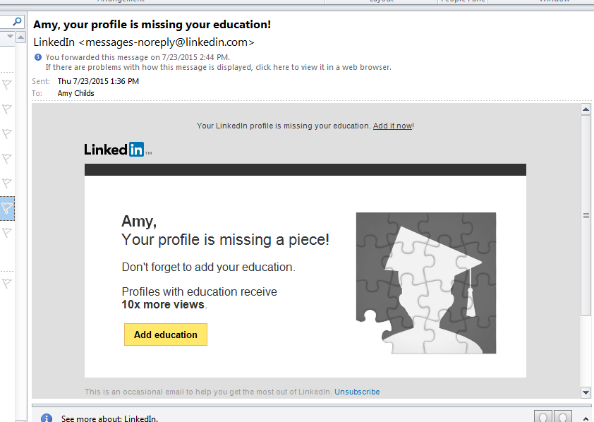 What education you talkin' about exactly, LinkedIn?